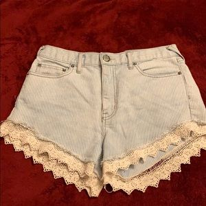 Free people high waisted pin stripe shorts
